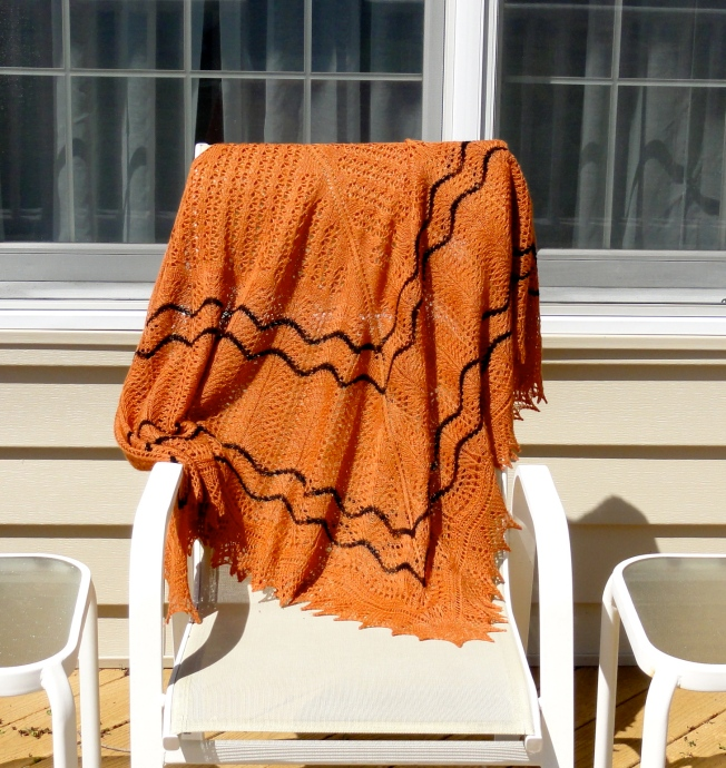 Calico Cat's Paw Square Shawl folded in half