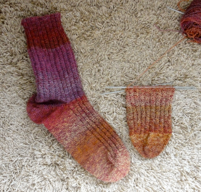 Sparkly Garter Rib sock #2 posting beside it's older sibling