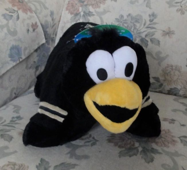 Yes, it's a Pillow Pet, as seen on TV. Iceburgh is the mascot of the Pittsburgh Penguins ice hockey team.