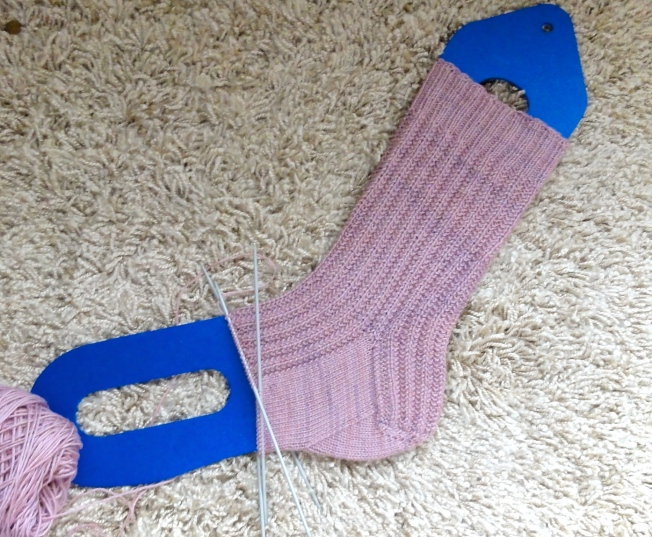 Sock #1 stretched on a sock blocker