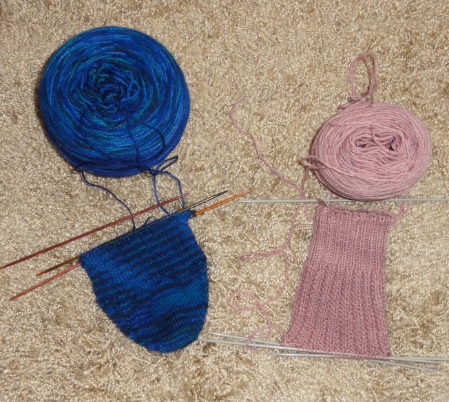 Revisible Ribs Socks sock #2 on the right, and the lovely Schaefer Anne sock #1 on the left