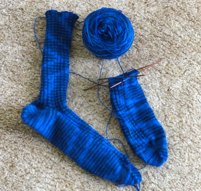 Greg's 3 x 2 ribbed socks (the heel of the second sock was turned last night, but I'm too lazy to take another picture.)