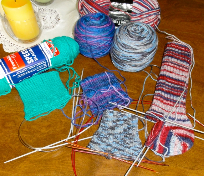Stanley Cup Playoff sock knitting