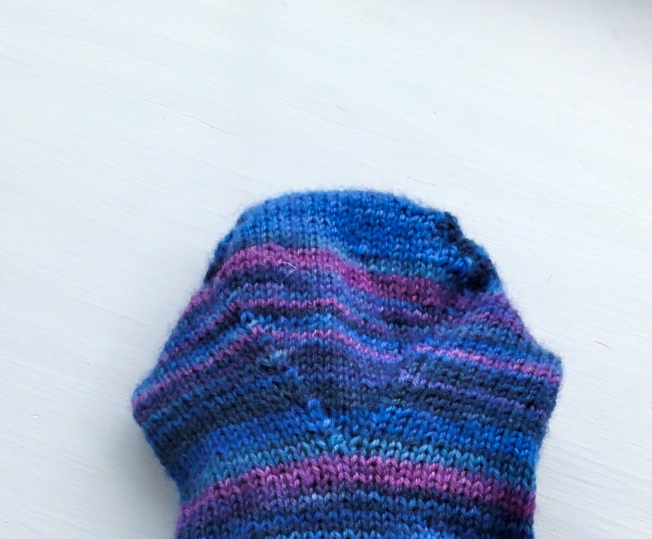 The gusset decreases on the foot instead of the instep