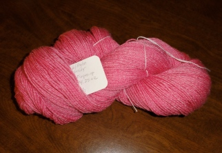 The finished yarn in a skein