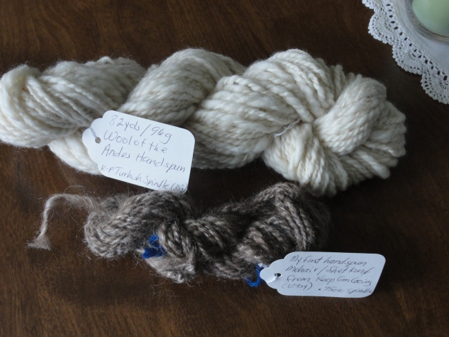 My first two skeins of handspun yarn.