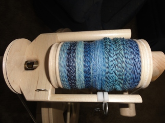 The 3-ply looks pretty on the bobbin.