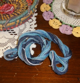 Blue Merino chain-plied just off the niddy noddy