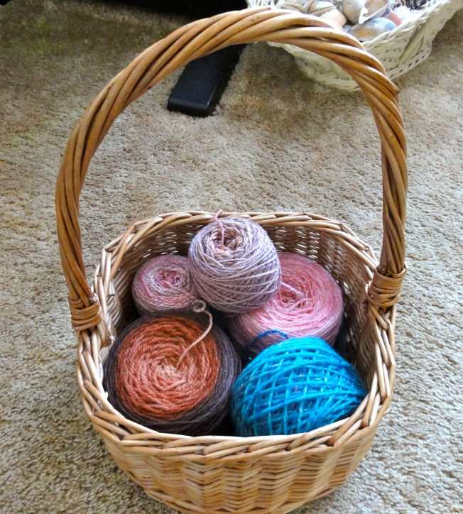 A basket of yarn cakes. Yum!