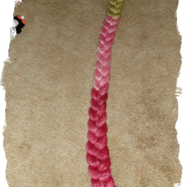 The braid is unwound. Aren't the colors pretty?