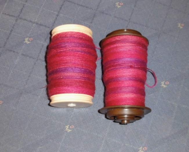 Right: Singles spun in double drive on the Ladybug Left: Singles chain-plied on the Lendrum (in Scotch tension)