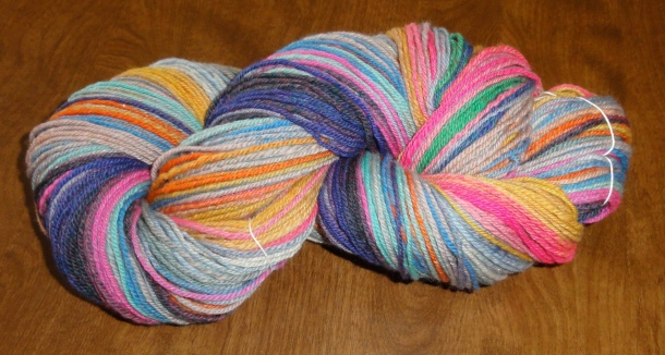 The finished skein awaiting knitting