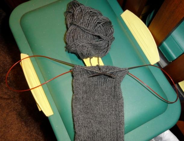 """Gray Vanilla"" sock on the Chiao Goo using Magic Loop"