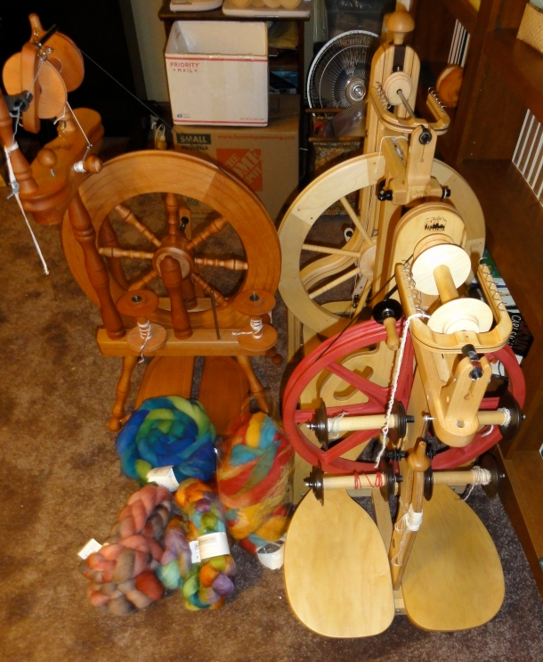 Three spinning wheels and five braids of fiber. How much can I spin in one week?