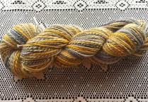 The fiber is superwash Merino, the yarn is another 2-ply fractal-spun yarn.